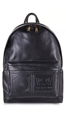 VERSUS VERSACE Men's Boombox Backpack, Black, 100% Leather, RRP £535