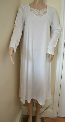 HANRO OF SWITZERLAND LONG SLEEVE MOYA GOWN A-LINE NEW SMALL 100% COTTON EMBROID