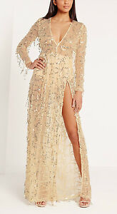 MISGUIDED STUNNING SEQUIN MAXI DRESS IN GOLD (8)