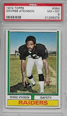 1974 TOPPS FOOTBALL 384 GEORGE ATKINSON OAKLAND RAIDERS PSA 8 NM-MT - $22.99