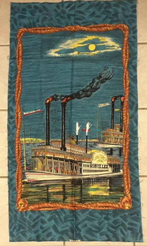 """Vtg Wesco Reltex Barkcloth Fabric Panel Robert E Lee Natchez Riverboats 24""""x 45"""""""