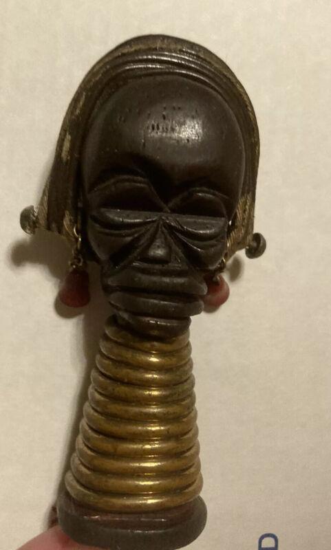 1930's Martha Sleeper AFRICAN TRIBAL HEAD Ubangi Wood Bakelite Copper Brooch Pin