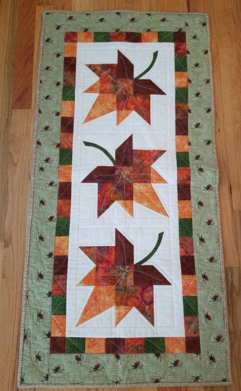 Beautiful Handmade Quilted Wall Hanging Autum Leaves 20x42