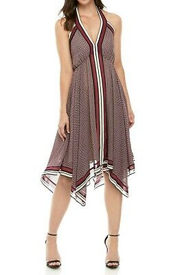 MICHAEL Michael Kors Border-Print Halter Dress L Border Halter Dress