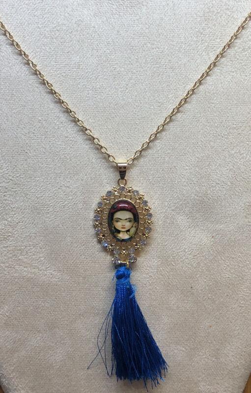 Frida Kahlo With Tassel Blue Fashion Necklace