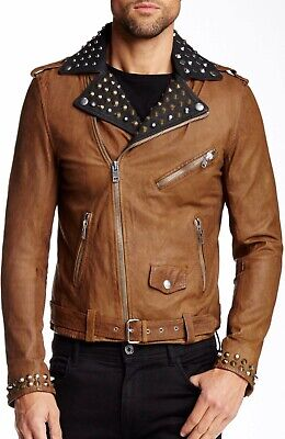 $998 NWT DIESEL L-ULISSES Leather Jacket Men's XL Brown Studded Vintage Look
