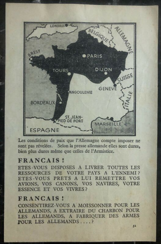 Original Great Britain leaflet Dropped On France WW2 RAF German Conditions