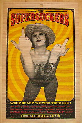 2004 The Supersuckers - Silkscreen Concert Tour Poster printed on Wood Lil Tuffy