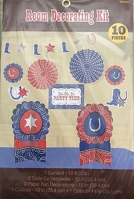 Western Themed Party Supplies~Room Decorating kit Cowboy Boots Stars Bandana