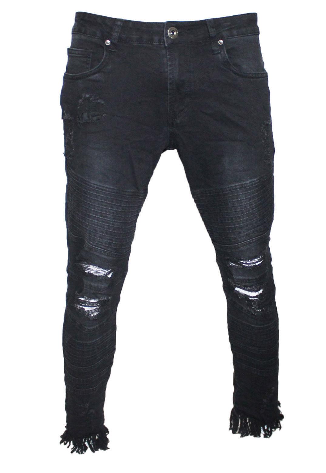Jeans Skinny da Uomo Stretch Denim Fit Slim Tutte Le Taglie Vita Nuovi Pantaloni POW 423