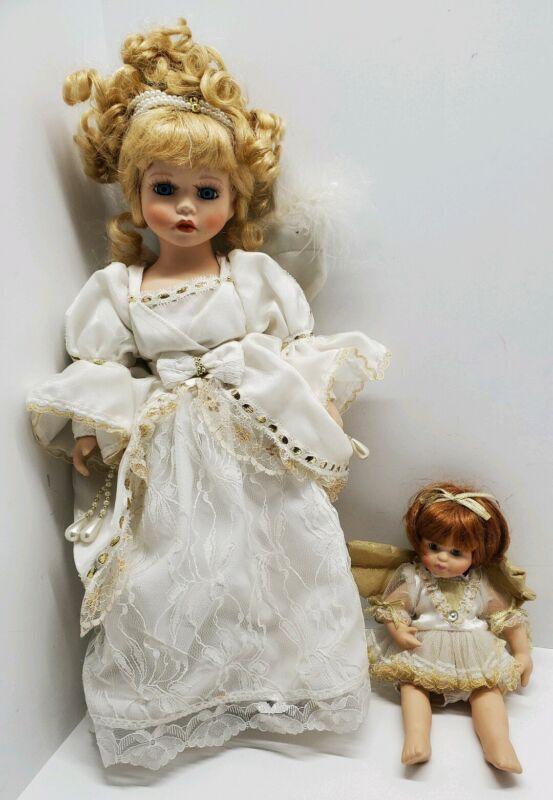 """Vtg Ceramic Angel Outfit Doll Little Girl Lot of 2 Wings White Dresses 18"""" & 9"""""""