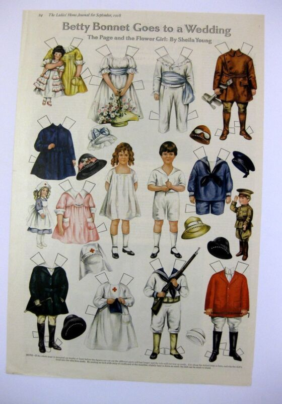 September 1918 Betty Bonnets Goes to a Wedding  Paper Doll Magazine Page