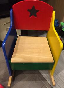 Multicoloured Wooden Baby/Child's Rocker with Underseat Storage