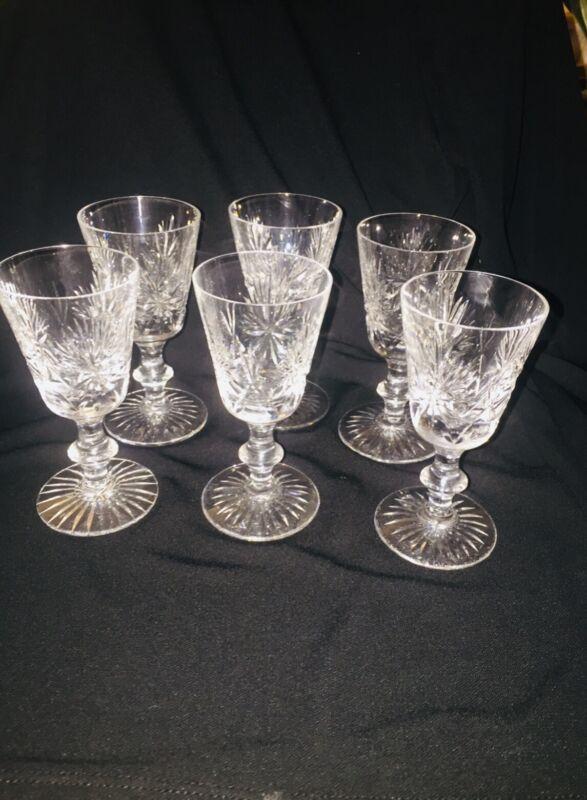 "Star of Edinburgh Crystal Cut Glass Set Of (6) Port Wine 2oz 4 5/8"" X 2 1/2"""