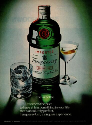 "1975 Tanqueray Special Dry English Distilled Gin ""Own A Bottle"" Vintage Print Ad"
