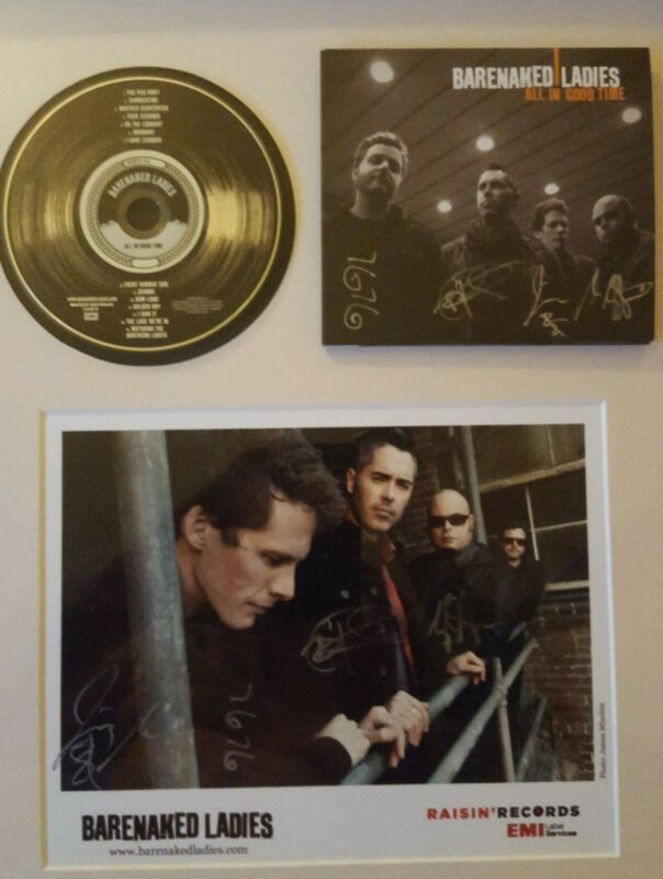 BARENAKED LADIES FRAMED DOUBLE SIGNATURES!! CD & PHOTO!! STRUNG, READ TO HANG!