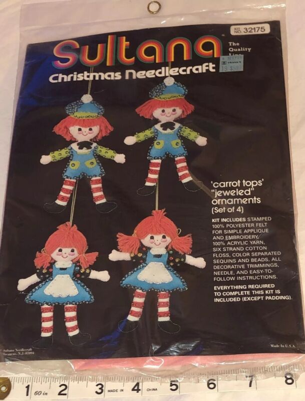 SULTANA Christmas Needlecraft Jeweled Ornaments Vintage 70s Raggedy Ann Andy New