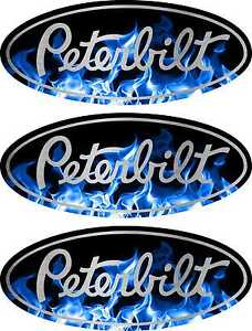 3 Peterbilt Blue Flame Hood & Grille Decal Emblems Flames 359 379 378 353 377