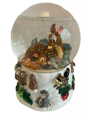 Bambi And Friends Musical Snow Globe ENESCO w Thumper & Mom - Works! - Swan Lake