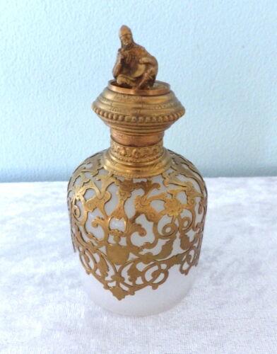 "Antique white opaline glass perfume bottle man & drum finial gold filigree 5"""