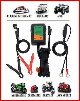 Automatic Trickle Charger Smart 750mA 12V Battery Charger Boat Lawn ATV Moto RV
