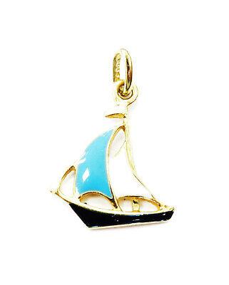 14K Yellow Gold Enameled Sailboat Ship Boat Nautical Charm Necklace Pendant ~0.7 (14k Yellow Gold Boat)