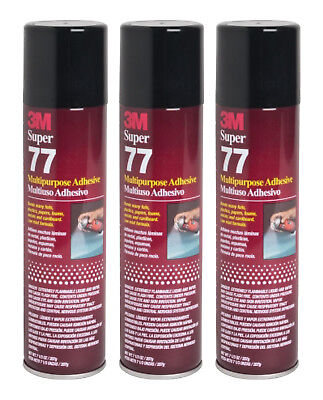 Qty3 3m Super 77 7.3oz Spray Glue For Foil Plastic Paper Foam Metal Fabric