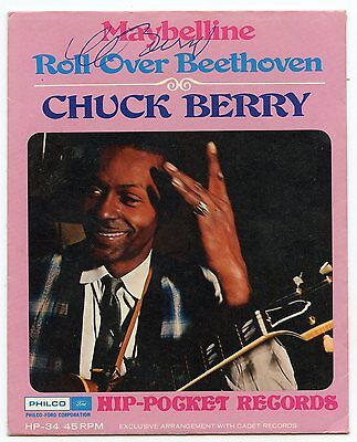 CHUCK BERRY Signed Roll Over Beethoven Record Sleeve POP 1  PSA Guarantee