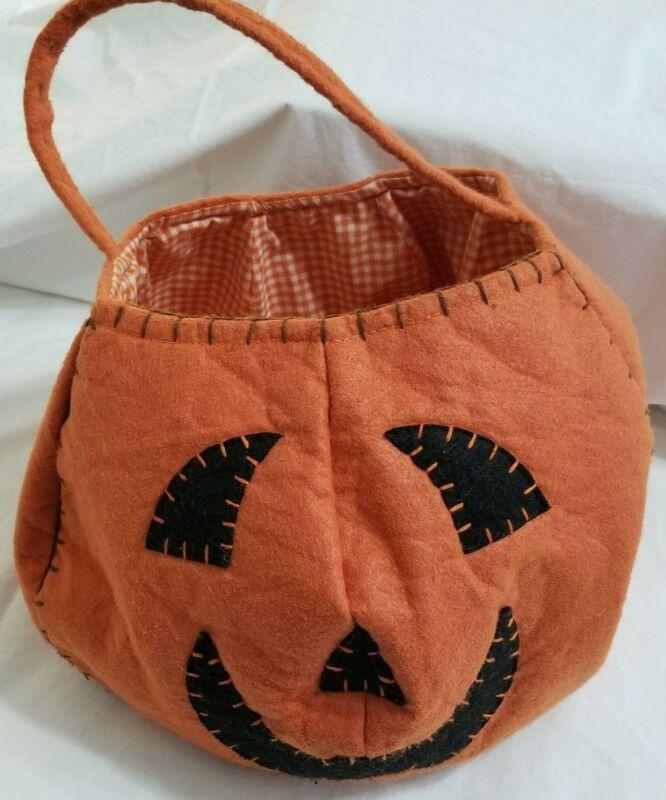Pottery Barn Kids Pumpkin Treat Bag Halloween Orange Gingham Check Lined Clean-M