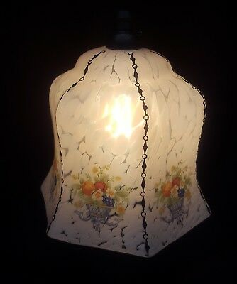 White Marbled Glass Hanging Pendant Lamp/Light With Flowers
