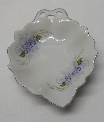Trinket Dish Candy Condiment Purple Flowers Wavy Cut Out Handle Signed - Purple Dishes