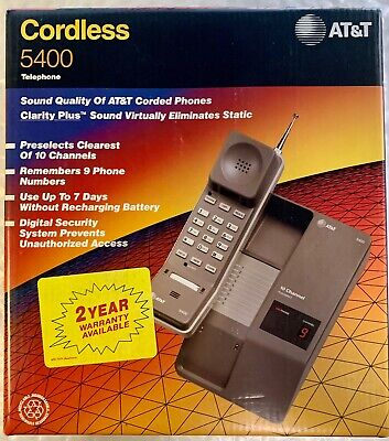 AT&T 5400 10 Channel Cordless Phone Desk/Wall Telephone Vintage NEW Collectible