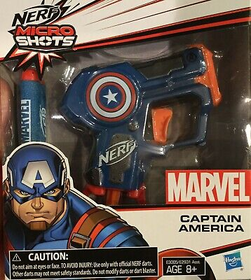 Marvel Comics Nerf Micro Shots Captain America Hasbro Toy Gun 2 Darts