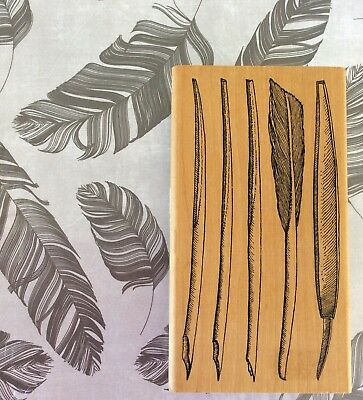 Wood Stamp Fashion - Old Fashioned Antique Quill Feather Pen Collage Wood Rubber Stamp Rare JudiKins