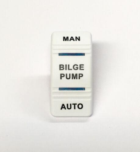 Euro Rocker Switch Cover- BILGE PUMP / MANUAL AUTO. White with 2 Blue Lenses....