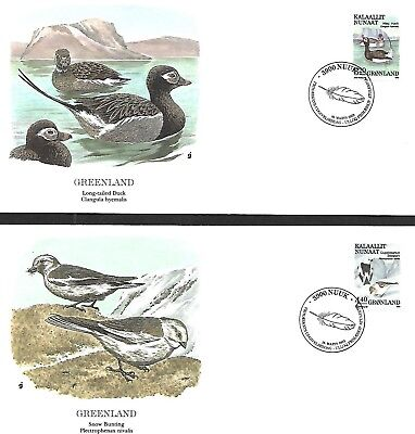 GREENLAND 1987 - 90 FIRST DAY COVER, BIRDS OF PREY