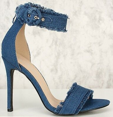 Denim Distressed Frayed Open Toe Single Sole Ankle Strap High Heel Sandals Denim Open Toe Sandals