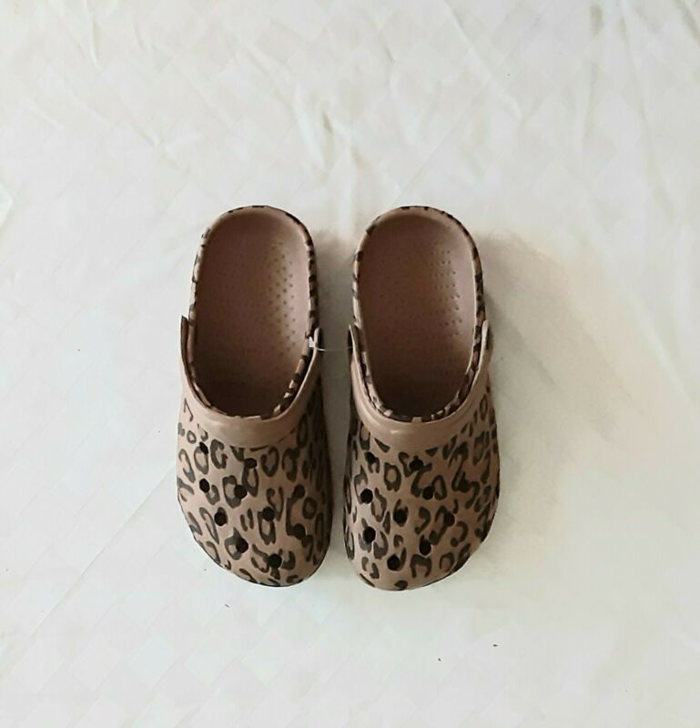 NEW Brown Black Shoes Women Croc Clog  Style Size 37 Leopard Print