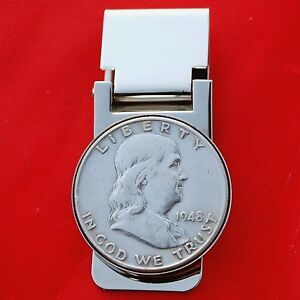 US 1948 Franklin Half Dollar 90% Silver Coin Hinged Money Clip NEW