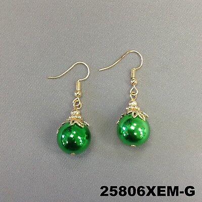 Green Color Christmas Tree Ornament Design Dangle Hook Earrings 25806XEM-G
