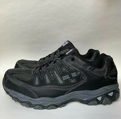 Sketchers Steel Toe Work Shoes Slip Resistant Memory Foam Black Mens Size 13