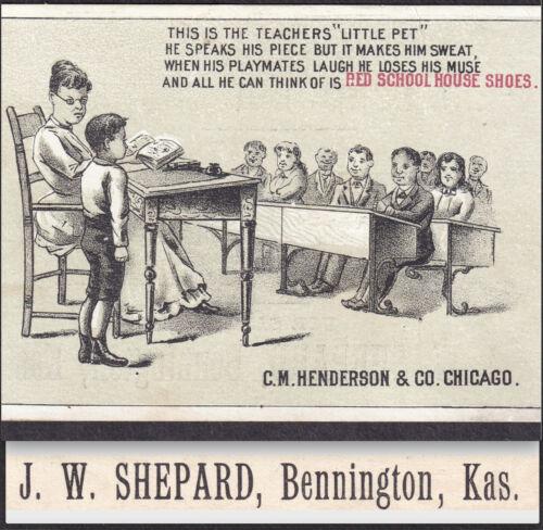 Bennington KS 1800s Red School House Henderson Shoe Teachers Pet Poem Trade Card