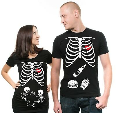 Halloween Maternity T-shirt Twins Skeleton T-shirt Pregnancy Top shirt costume - Twin Maternity Halloween Costumes