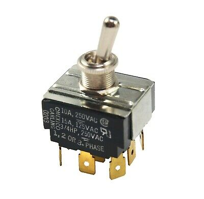 Toggle Switch Carling Technologies 0203 0614r 15a 125v 10a 250v 34 Hp 1-3 Phase