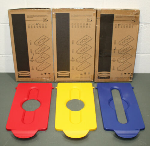 Rubbermaid Slim Jim Recycling Station Hinged Lid Inserts, Red/Yellow/Blue