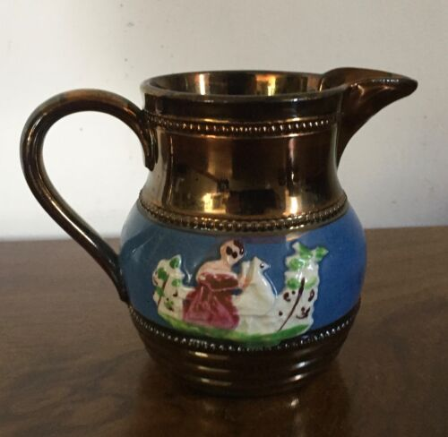 Antique 19th c. Copper Luster Cream Jug Pitcher Creamer Staffordshire Pearlware