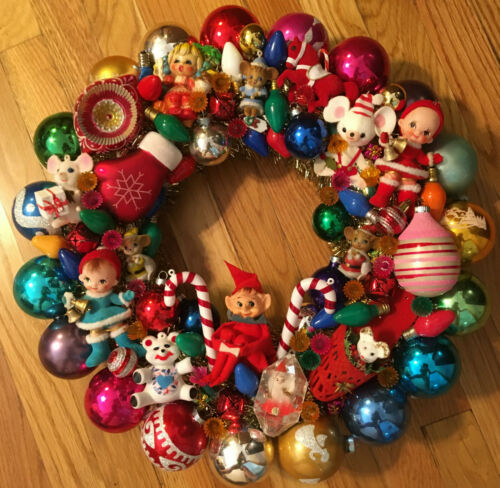 "Vintage Christmas Wreath Handmade 19"" Kitsch"