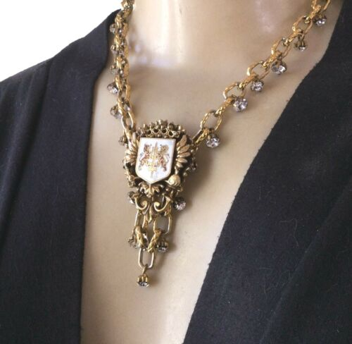 Coat of Arms Brooch Necklace Lot Royal Crest Heraldry Pendant Rhinestone Chain