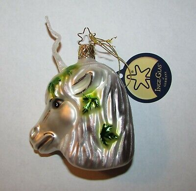 NWT Inge-Glas Blown German Glass Christmas Ornament White Mystical Unicorn