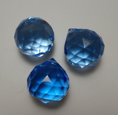 Feng Shui Energy Crystal Blue Prism with Instructions and gift bag 20 mm 3 pcs